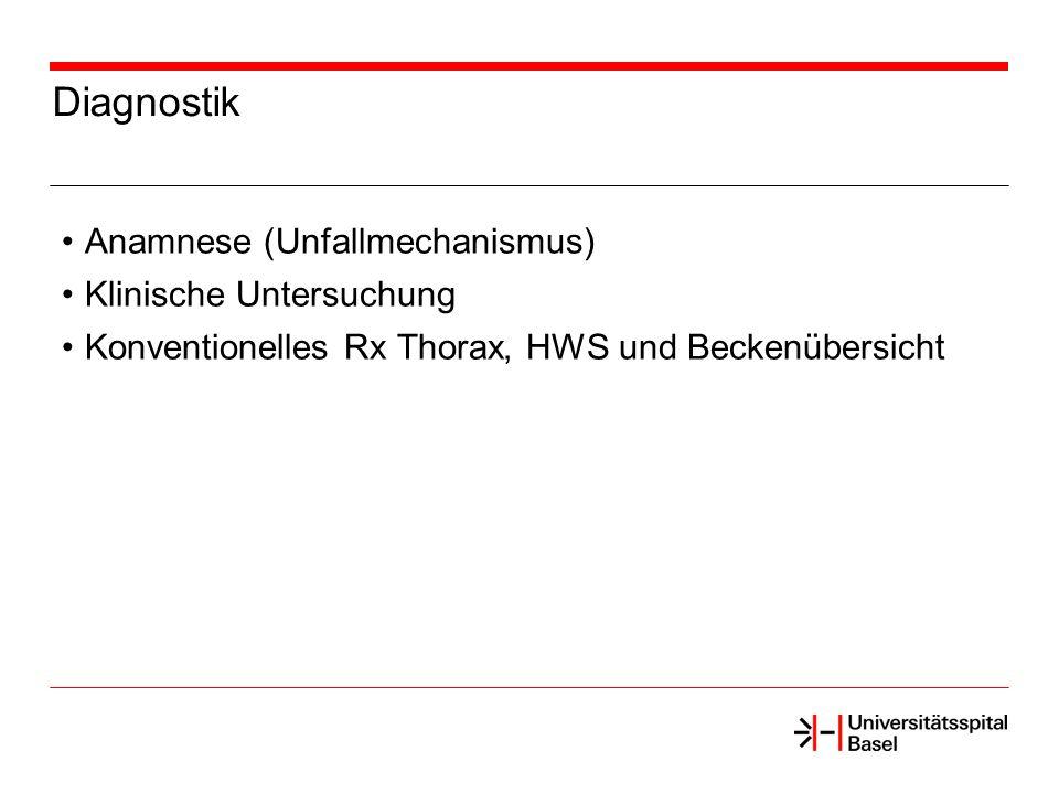 Diagnostik Anamnese (Unfallmechanismus) Klinische Untersuchung Konventionelles Rx Thorax, HWS und Beckenübersicht