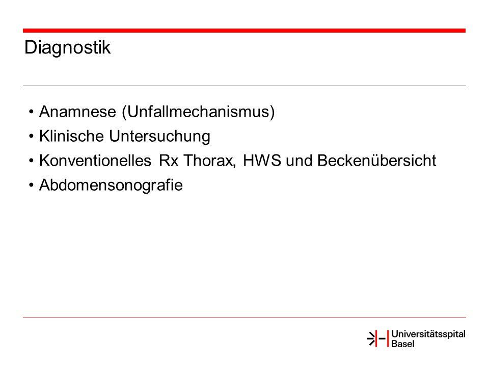 Diagnostik Anamnese (Unfallmechanismus) Klinische Untersuchung Konventionelles Rx Thorax, HWS und Beckenübersicht Abdomensonografie