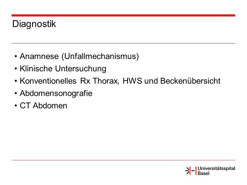 Diagnostik Anamnese (Unfallmechanismus) Klinische Untersuchung Konventionelles Rx Thorax, HWS und Beckenübersicht Abdomensonografie CT Abdomen