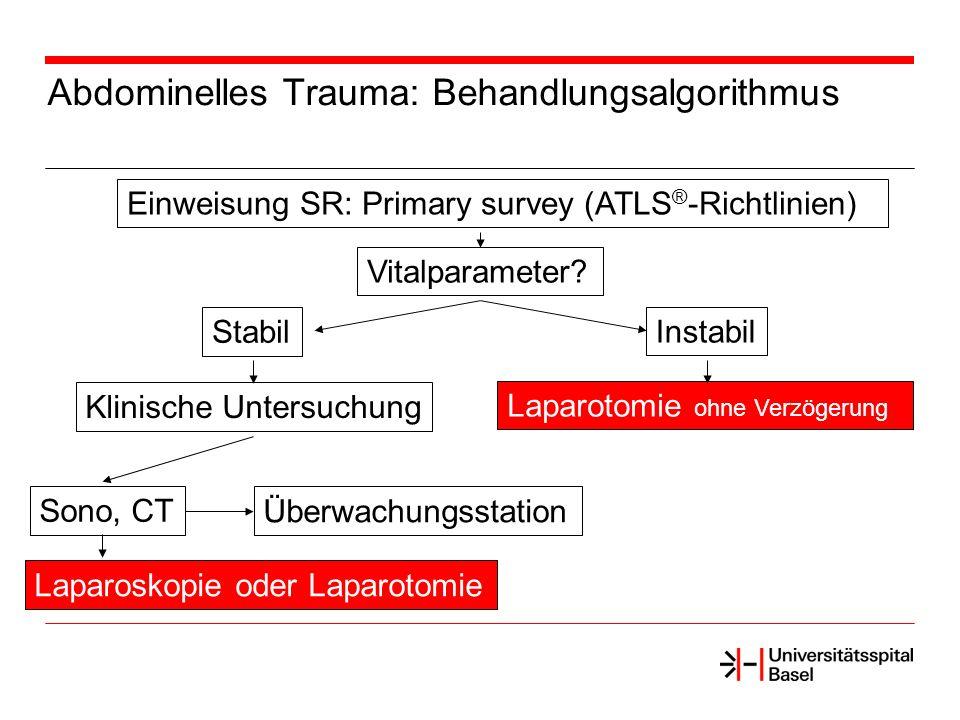 Abdominelles Trauma: Behandlungsalgorithmus Einweisung SR: Primary survey (ATLS ® -Richtlinien) Vitalparameter? Stabil Instabil Laparotomie ohne Verzö