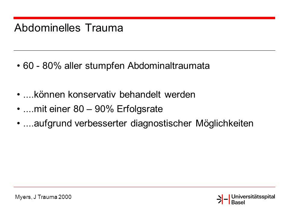 Myers, J Trauma 2000 Abdominelles Trauma 60 - 80% aller stumpfen Abdominaltraumata....können konservativ behandelt werden....mit einer 80 – 90% Erfolg