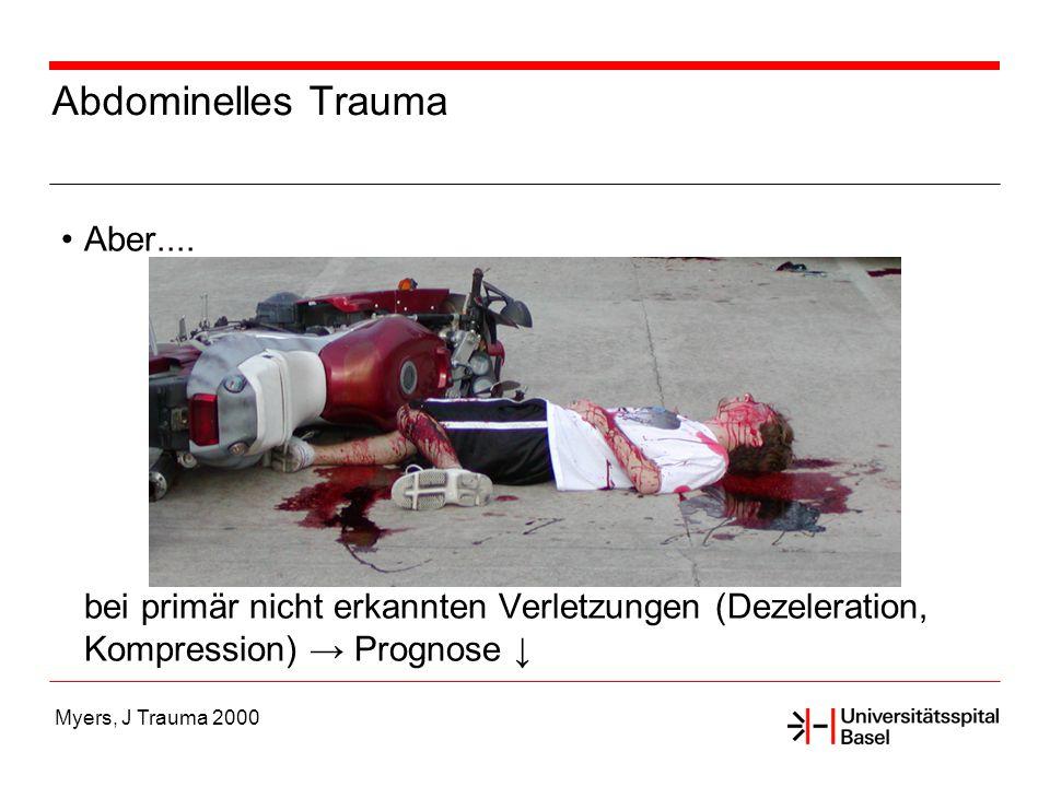 Myers, J Trauma 2000 Abdominelles Trauma Aber.... bei primär nicht erkannten Verletzungen (Dezeleration, Kompression) Prognose