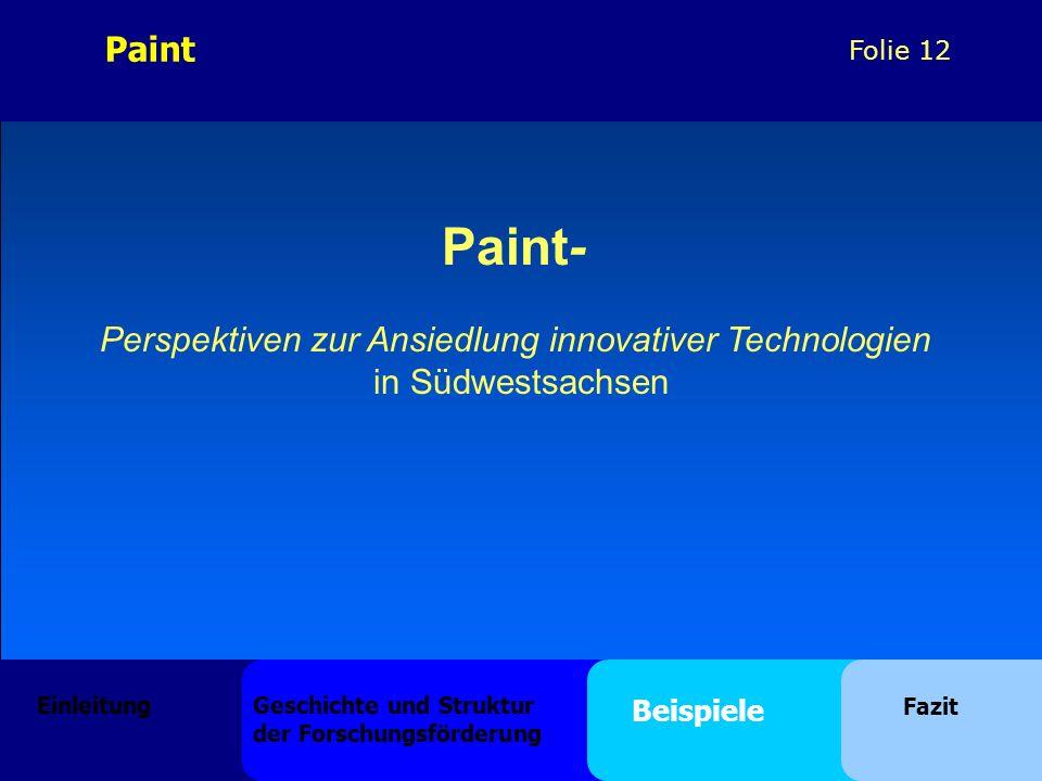 Folie 12 Paint- Perspektiven zur Ansiedlung innovativer Technologien in Südwestsachsen Paint Einleitung Geschichte und Struktur der Forschungsförderung Beispiele Fazit