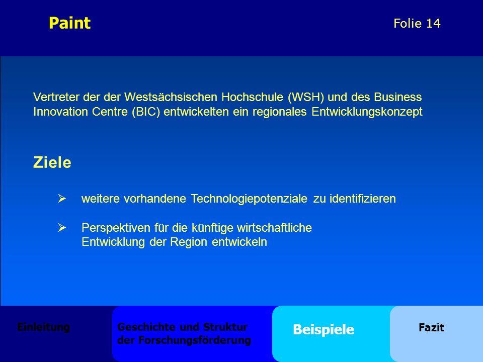 Folie 14 Vertreter der der Westsächsischen Hochschule (WSH) und des Business Innovation Centre (BIC) entwickelten ein regionales Entwicklungskonzept Z