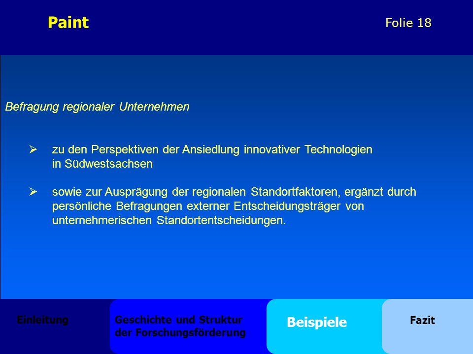 Folie 18 Befragung regionaler Unternehmen zu den Perspektiven der Ansiedlung innovativer Technologien in Südwestsachsen sowie zur Ausprägung der regionalen Standortfaktoren, ergänzt durch persönliche Befragungen externer Entscheidungsträger von unternehmerischen Standortentscheidungen.