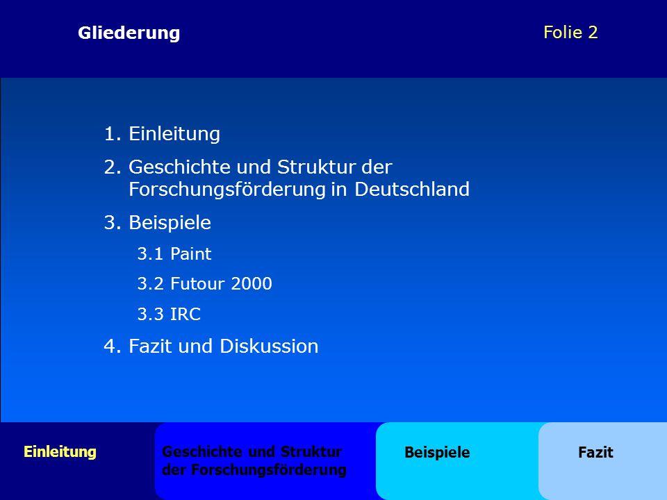 Folie 2 1.Einleitung 2.Geschichte und Struktur der Forschungsförderung in Deutschland 3.Beispiele 3.1 Paint 3.2 Futour 2000 3.3 IRC 4. Fazit und Disku