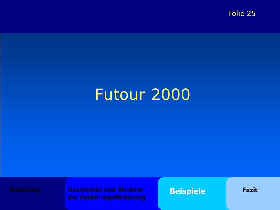 Folie 25 Futour 2000 Einleitung Geschichte und Struktur der Forschungsförderung Beispiele Fazit