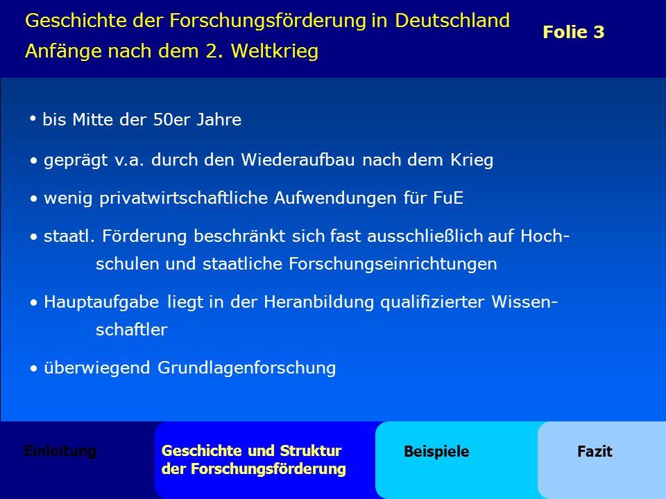 Folie 4 Geschichte der Forschungsförderung in Deutschland Imitationsphase bis Mitte der 60er Jahre Deutsches Atomprogramm (1957) bildete Grundlage für die Förderung von FuE in Deutschland Staat sollte finanzielle Starthilfen bereitstellen große Förderprogramme (z.B.