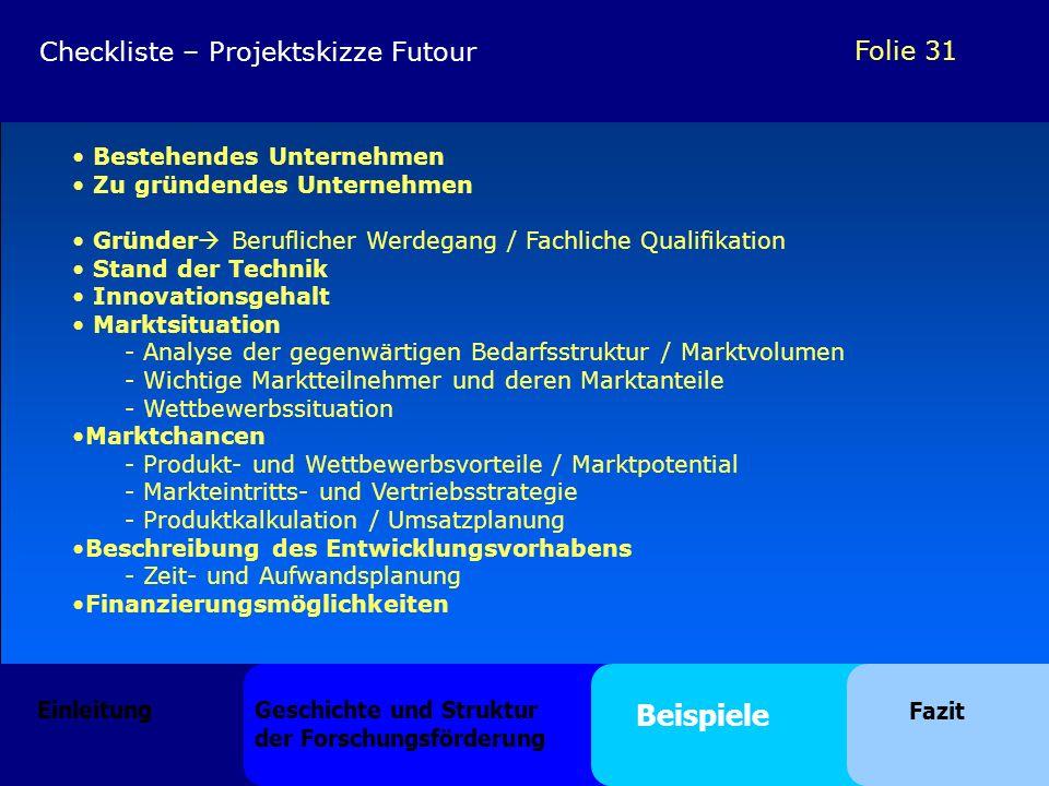 Folie 31 Bestehendes Unternehmen Zu gründendes Unternehmen Gründer Beruflicher Werdegang / Fachliche Qualifikation Stand der Technik Innovationsgehalt