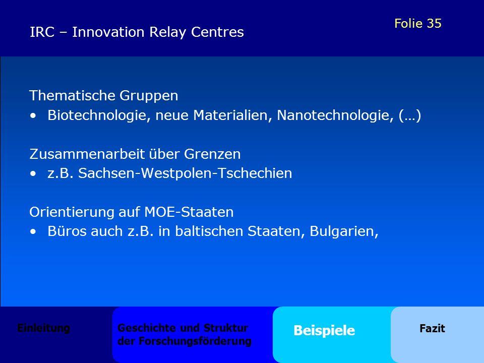 Folie 35 Thematische Gruppen Biotechnologie, neue Materialien, Nanotechnologie, (…) Zusammenarbeit über Grenzen z.B. Sachsen-Westpolen-Tschechien Orie
