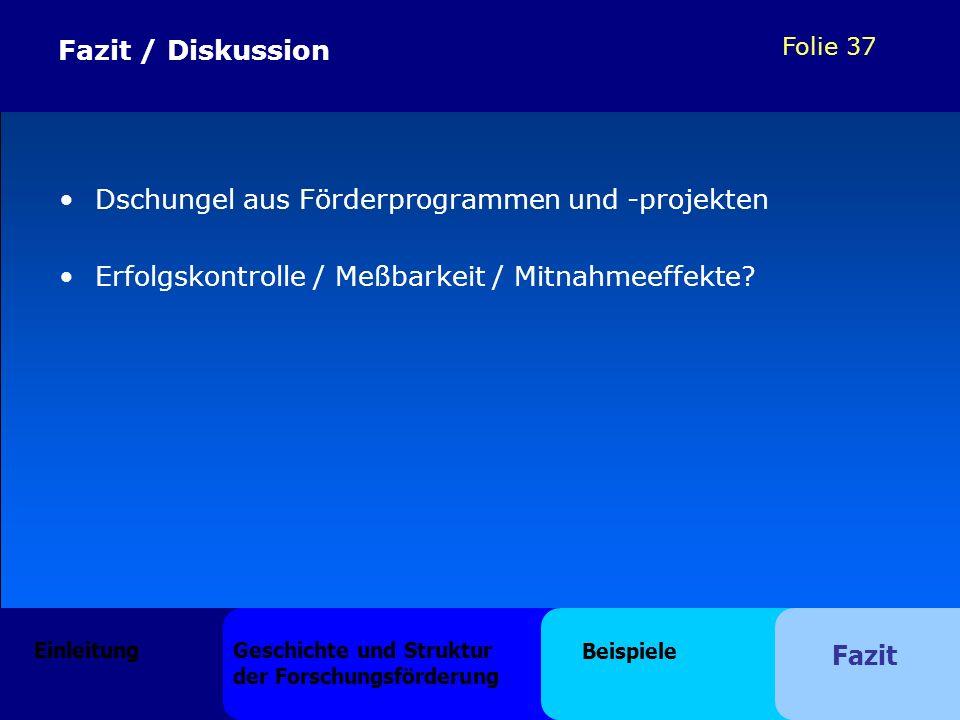 Folie 37 Fazit / Diskussion Dschungel aus Förderprogrammen und -projekten Erfolgskontrolle / Meßbarkeit / Mitnahmeeffekte? Einleitung Geschichte und S