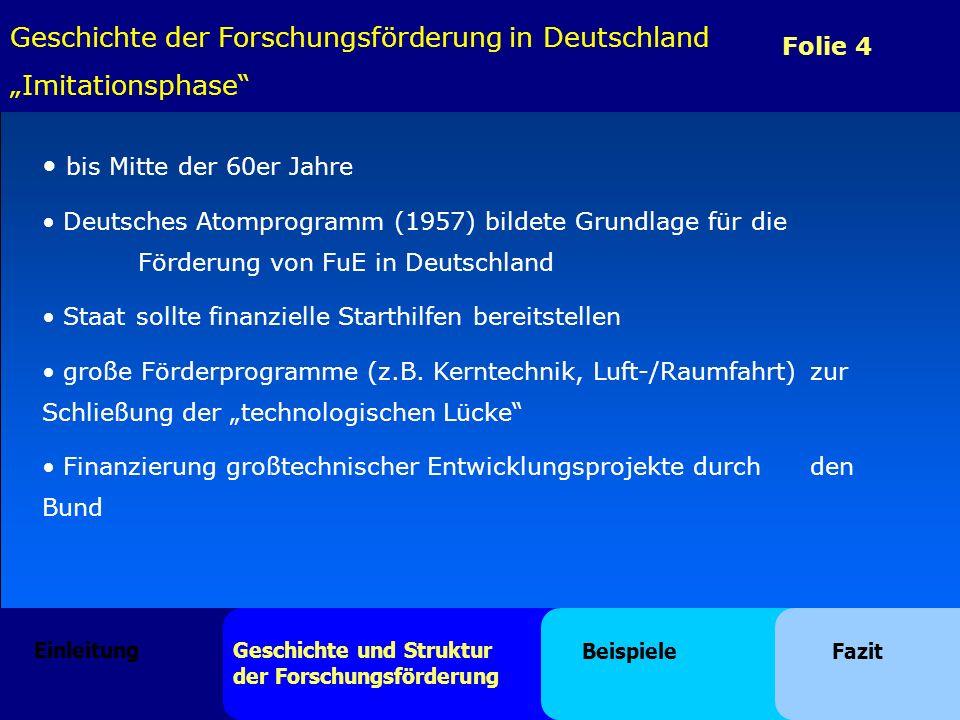 Folie 4 Geschichte der Forschungsförderung in Deutschland Imitationsphase bis Mitte der 60er Jahre Deutsches Atomprogramm (1957) bildete Grundlage für