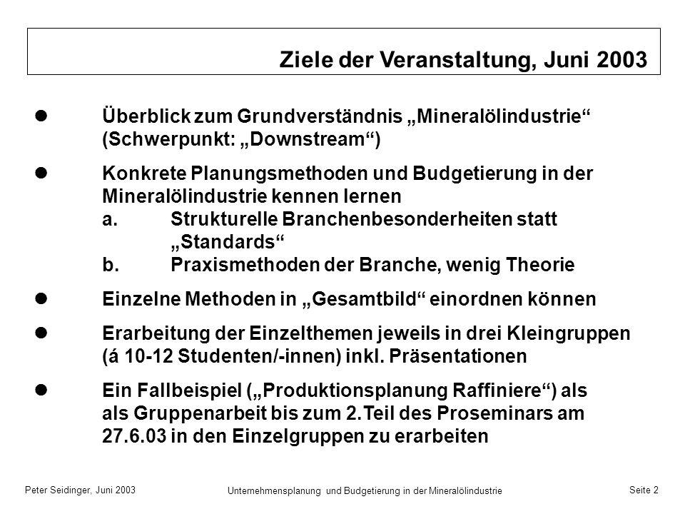 Peter Seidinger, Juni 2003 Unternehmensplanung und Budgetierung in der Mineralölindustrie Seite 2 Ziele der Veranstaltung, Juni 2003 Überblick zum Gru