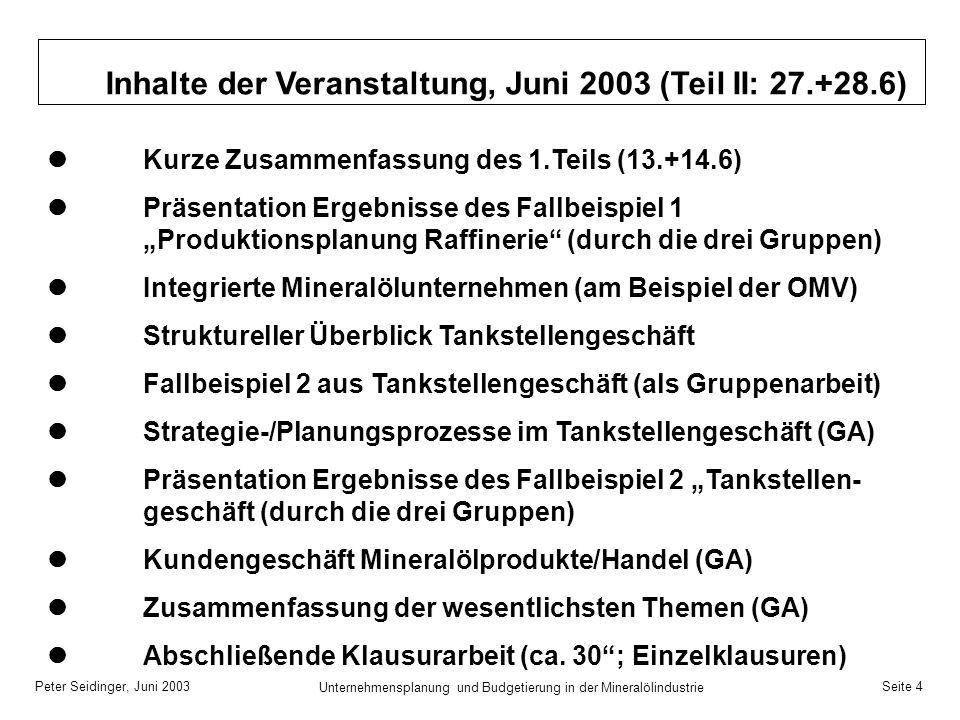Peter Seidinger, Juni 2003 Unternehmensplanung und Budgetierung in der Mineralölindustrie Seite 4 Inhalte der Veranstaltung, Juni 2003 (Teil II: 27.+2