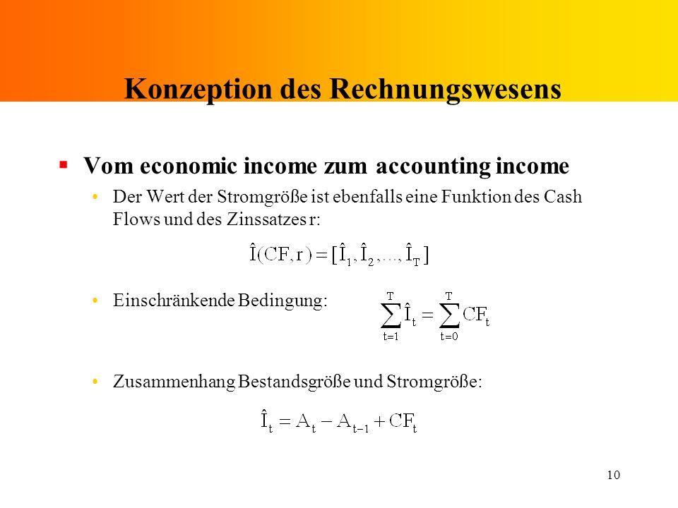 10 Konzeption des Rechnungswesens Vom economic income zum accounting income Der Wert der Stromgröße ist ebenfalls eine Funktion des Cash Flows und des