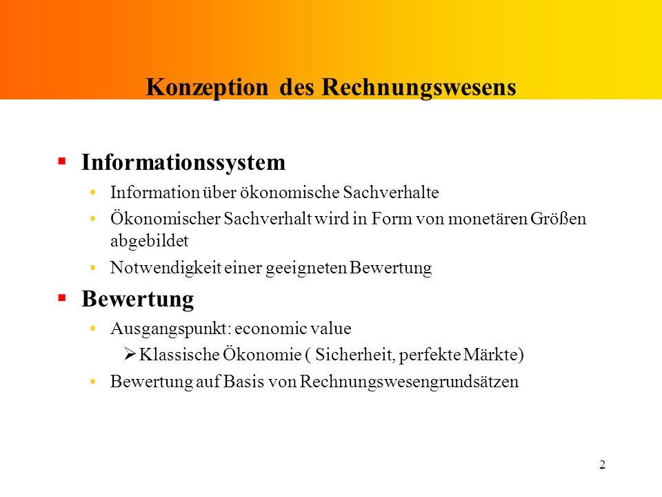 2 Konzeption des Rechnungswesens Informationssystem Information über ökonomische Sachverhalte Ökonomischer Sachverhalt wird in Form von monetären Größ