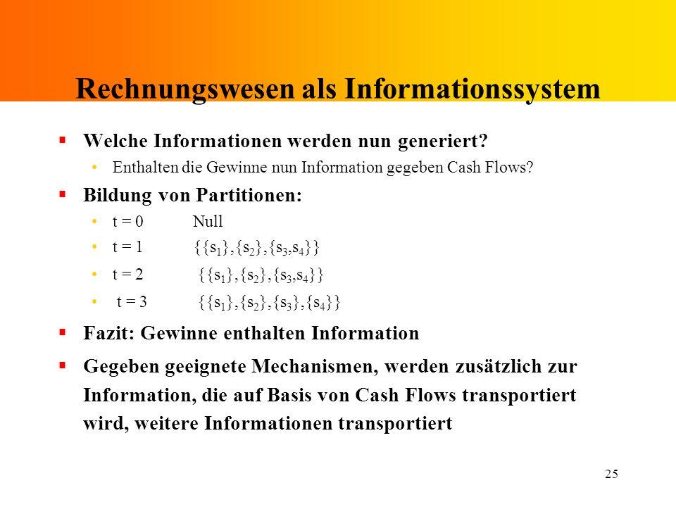 25 Rechnungswesen als Informationssystem Welche Informationen werden nun generiert? Enthalten die Gewinne nun Information gegeben Cash Flows? Bildung