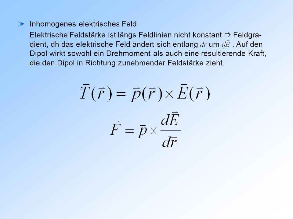 Inhomogenes elektrisches Feld Elektrische Feldstärke ist längs Feldlinien nicht konstant Feldgra- dient, dh das elektrische Feld ändert sich entlang um.