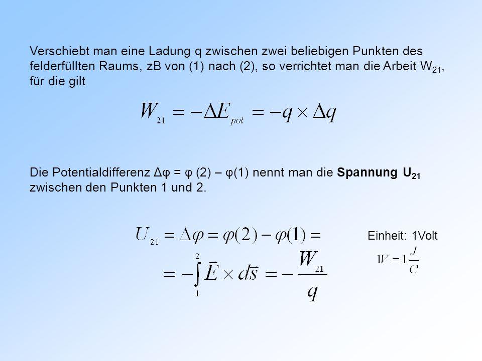 Verschiebt man eine Ladung q zwischen zwei beliebigen Punkten des felderfüllten Raums, zB von (1) nach (2), so verrichtet man die Arbeit W 21, für die gilt Die Potentialdifferenz Δφ = φ (2) – φ (1) nennt man die Spannung U 21 zwischen den Punkten 1 und 2.