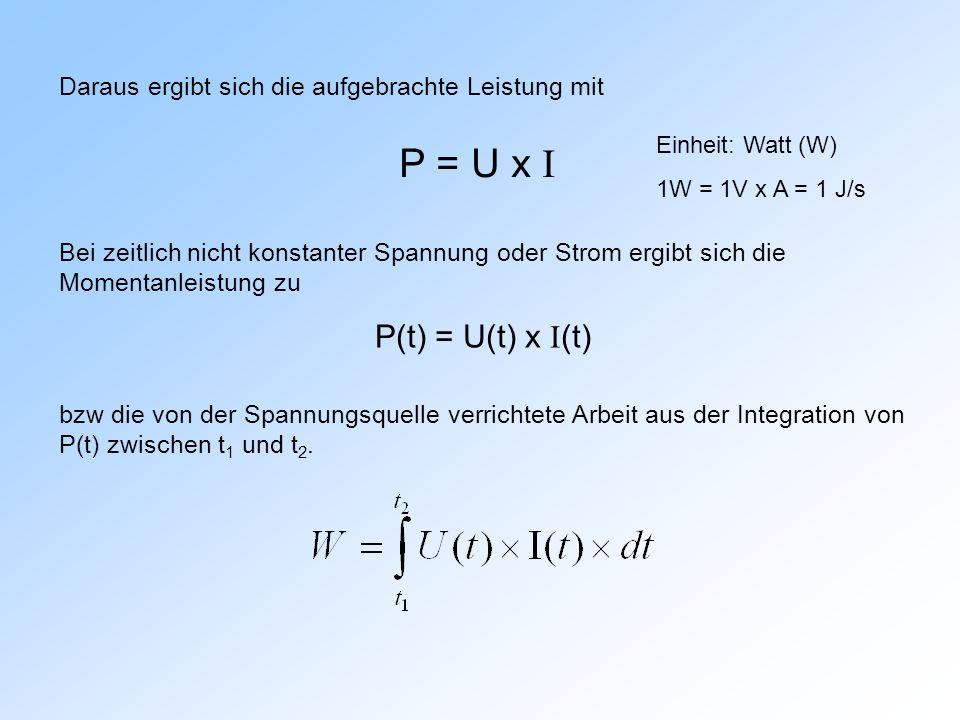 Daraus ergibt sich die aufgebrachte Leistung mit P = U x I Einheit: Watt (W) 1W = 1V x A = 1 J/s Bei zeitlich nicht konstanter Spannung oder Strom ergibt sich die Momentanleistung zu P(t) = U(t) x I (t) bzw die von der Spannungsquelle verrichtete Arbeit aus der Integration von P(t) zwischen t 1 und t 2.