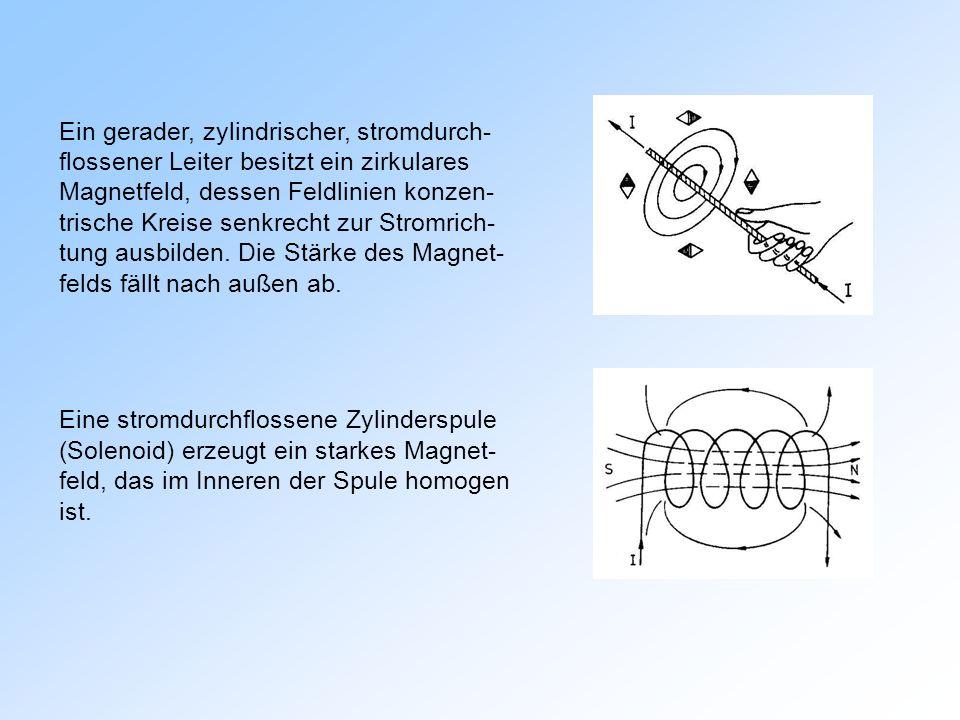Ein gerader, zylindrischer, stromdurch- flossener Leiter besitzt ein zirkulares Magnetfeld, dessen Feldlinien konzen- trische Kreise senkrecht zur Stromrich- tung ausbilden.