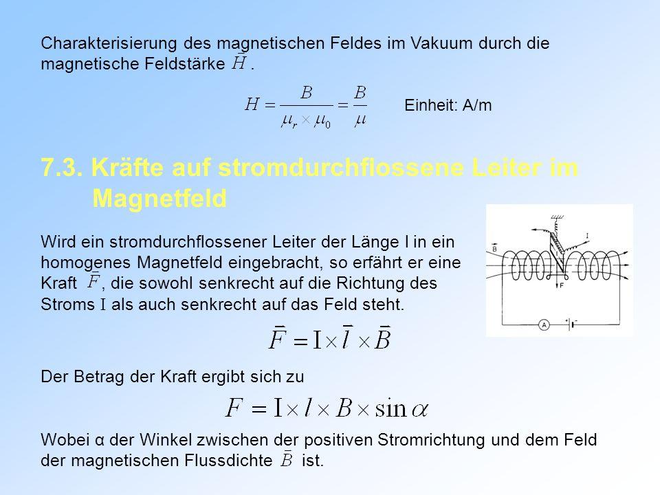 Charakterisierung des magnetischen Feldes im Vakuum durch die magnetische Feldstärke.