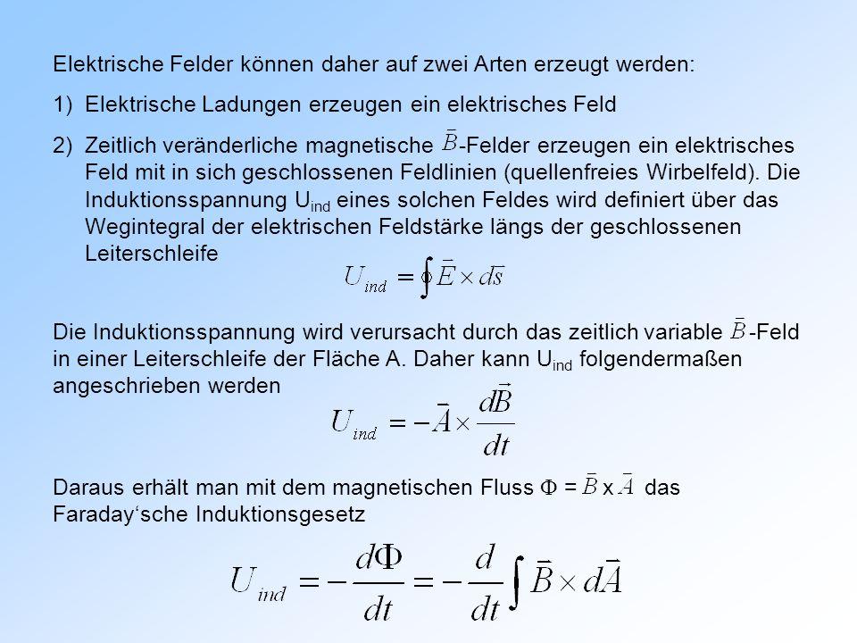 Elektrische Felder können daher auf zwei Arten erzeugt werden: 1)Elektrische Ladungen erzeugen ein elektrisches Feld 2)Zeitlich veränderliche magnetische -Felder erzeugen ein elektrisches Feld mit in sich geschlossenen Feldlinien (quellenfreies Wirbelfeld).