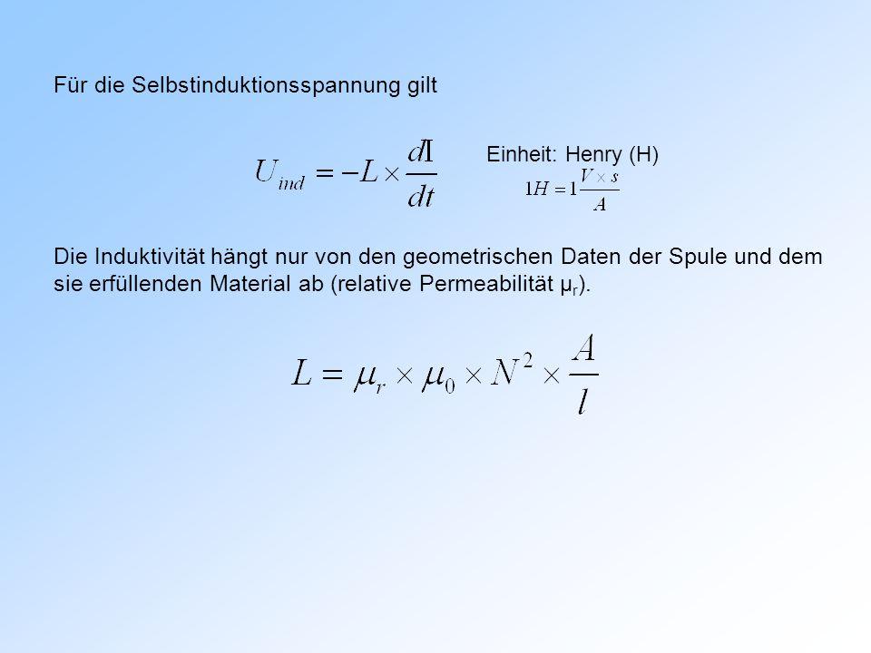 Einheit: Henry (H) Für die Selbstinduktionsspannung gilt Die Induktivität hängt nur von den geometrischen Daten der Spule und dem sie erfüllenden Material ab (relative Permeabilität μ r ).