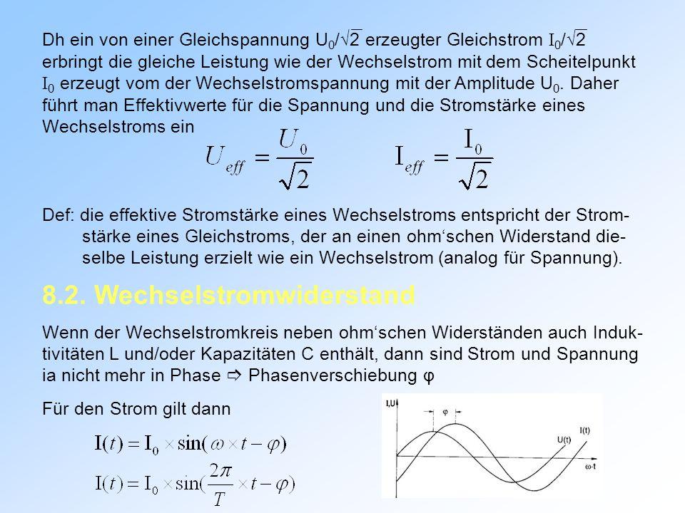 Dh ein von einer Gleichspannung U 0 /2 erzeugter Gleichstrom I 0 /2 erbringt die gleiche Leistung wie der Wechselstrom mit dem Scheitelpunkt I 0 erzeugt vom der Wechselstromspannung mit der Amplitude U 0.