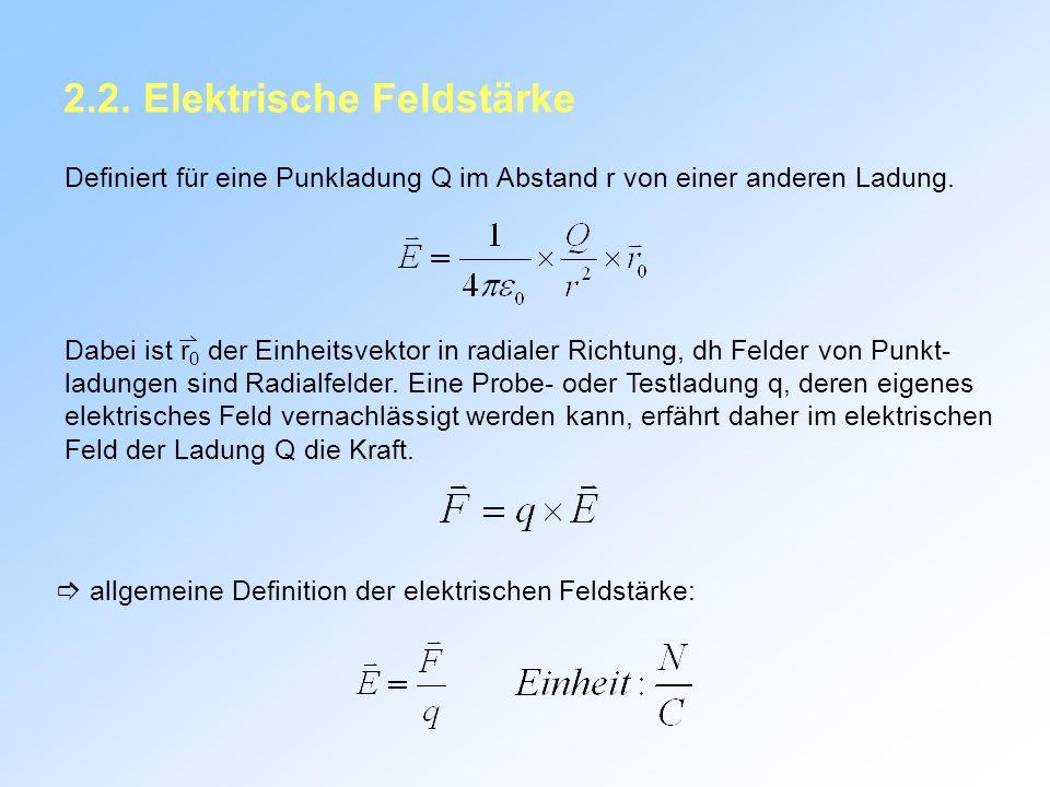 2.2.Elektrische Feldstärke Definiert für eine Punkladung Q im Abstand r von einer anderen Ladung.