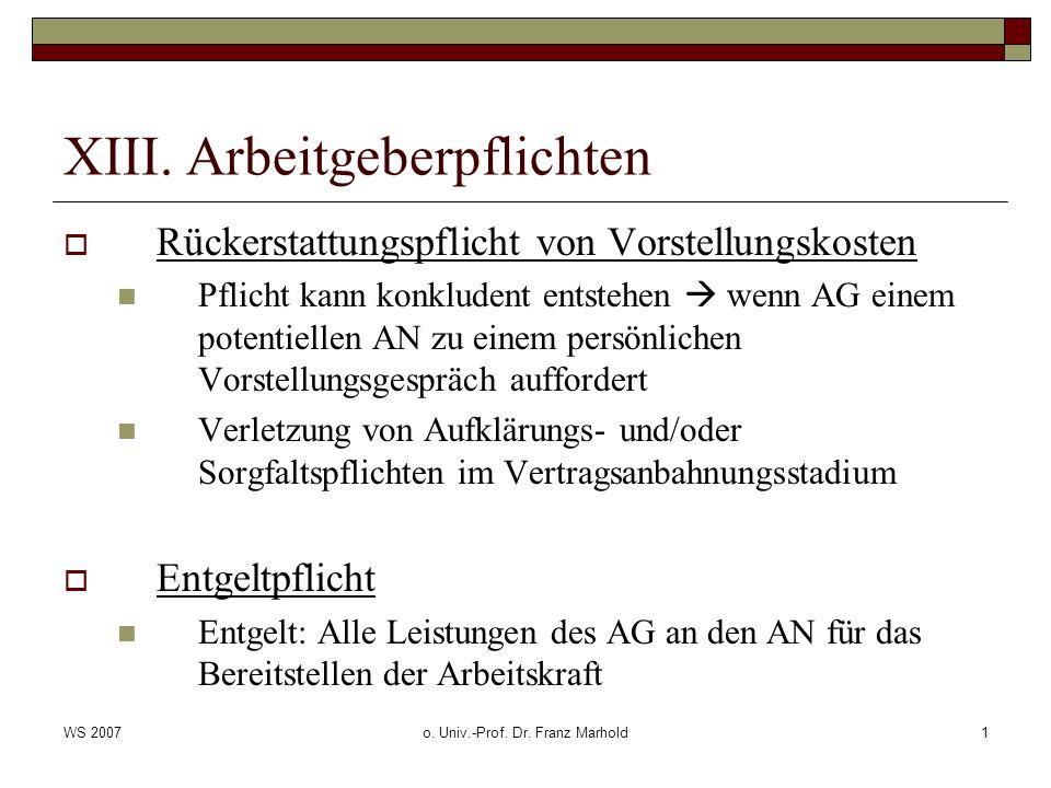 WS 2007o. Univ.-Prof. Dr. Franz Marhold1 XIII. Arbeitgeberpflichten Rückerstattungspflicht von Vorstellungskosten Pflicht kann konkludent entstehen we