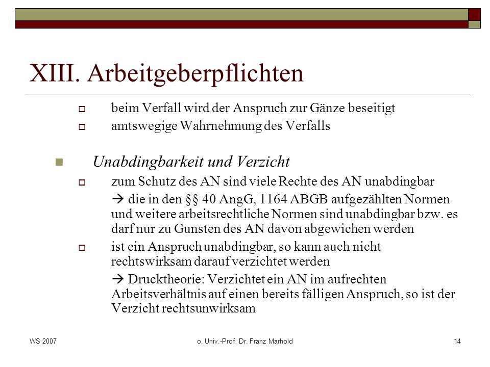 WS 2007o. Univ.-Prof. Dr. Franz Marhold14 XIII. Arbeitgeberpflichten beim Verfall wird der Anspruch zur Gänze beseitigt amtswegige Wahrnehmung des Ver