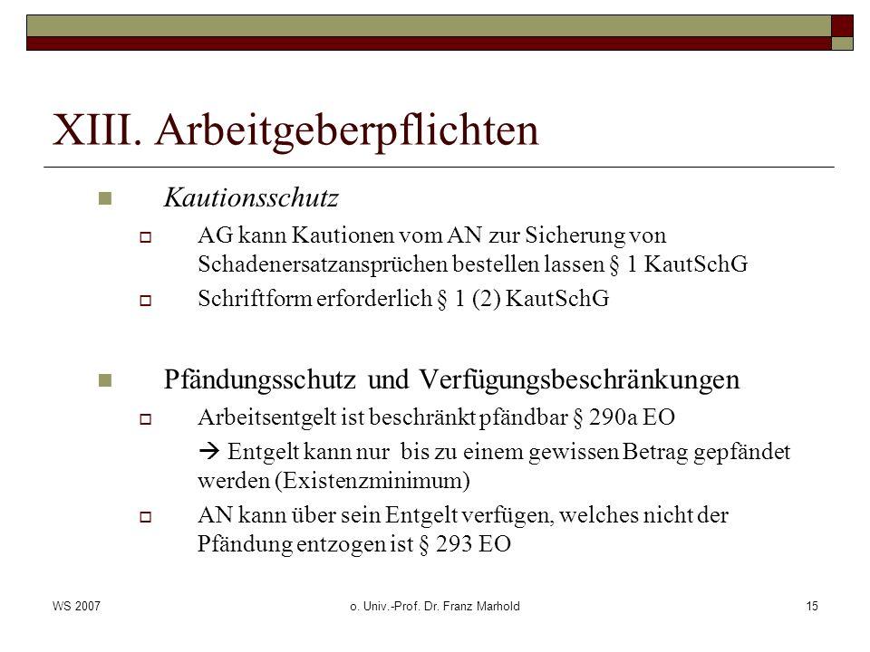 WS 2007o. Univ.-Prof. Dr. Franz Marhold15 XIII. Arbeitgeberpflichten Kautionsschutz AG kann Kautionen vom AN zur Sicherung von Schadenersatzansprüchen