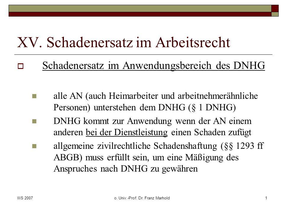 WS 2007o. Univ.-Prof. Dr. Franz Marhold1 XV. Schadenersatz im Arbeitsrecht Schadenersatz im Anwendungsbereich des DNHG alle AN (auch Heimarbeiter und