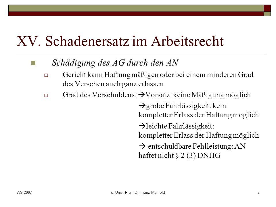 WS 2007o. Univ.-Prof. Dr. Franz Marhold2 XV. Schadenersatz im Arbeitsrecht Schädigung des AG durch den AN Gericht kann Haftung mäßigen oder bei einem