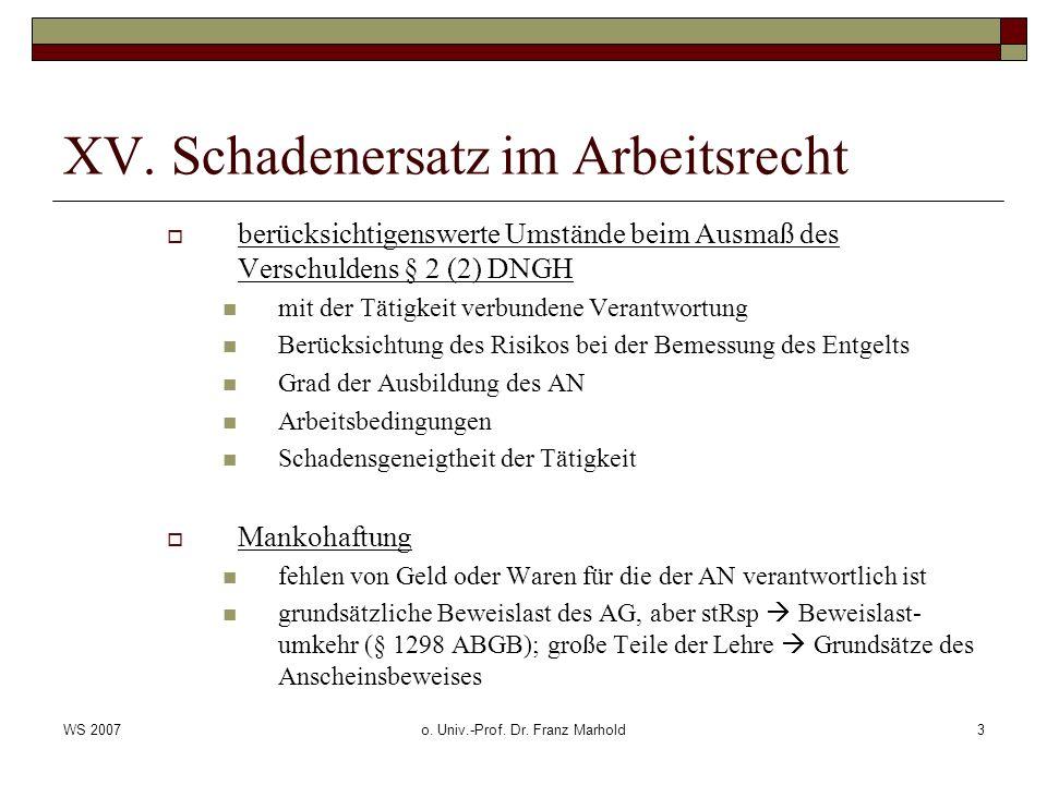 WS 2007o. Univ.-Prof. Dr. Franz Marhold3 XV. Schadenersatz im Arbeitsrecht berücksichtigenswerte Umstände beim Ausmaß des Verschuldens § 2 (2) DNGH mi