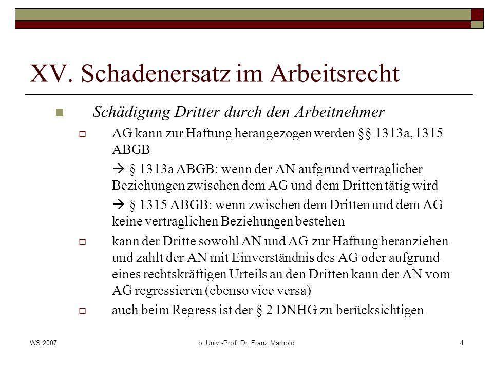 WS 2007o. Univ.-Prof. Dr. Franz Marhold4 XV. Schadenersatz im Arbeitsrecht Schädigung Dritter durch den Arbeitnehmer AG kann zur Haftung herangezogen