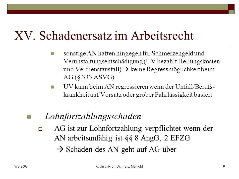 WS 2007o. Univ.-Prof. Dr. Franz Marhold8 XV. Schadenersatz im Arbeitsrecht sonstige AN haften hingegen für Schmerzengeld und Verunstaltungsentschädigu