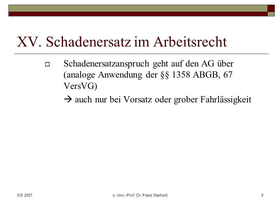 WS 2007o. Univ.-Prof. Dr. Franz Marhold9 XV. Schadenersatz im Arbeitsrecht Schadenersatzanspruch geht auf den AG über (analoge Anwendung der §§ 1358 A