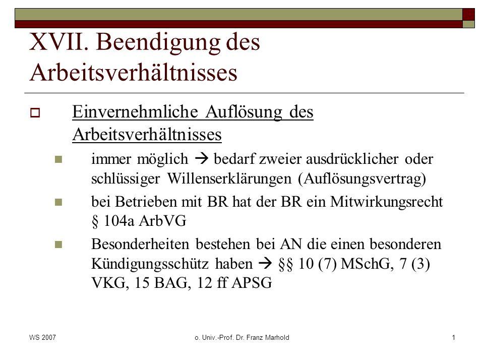 WS 2007o. Univ.-Prof. Dr. Franz Marhold1 XVII. Beendigung des Arbeitsverhältnisses Einvernehmliche Auflösung des Arbeitsverhältnisses immer möglich be