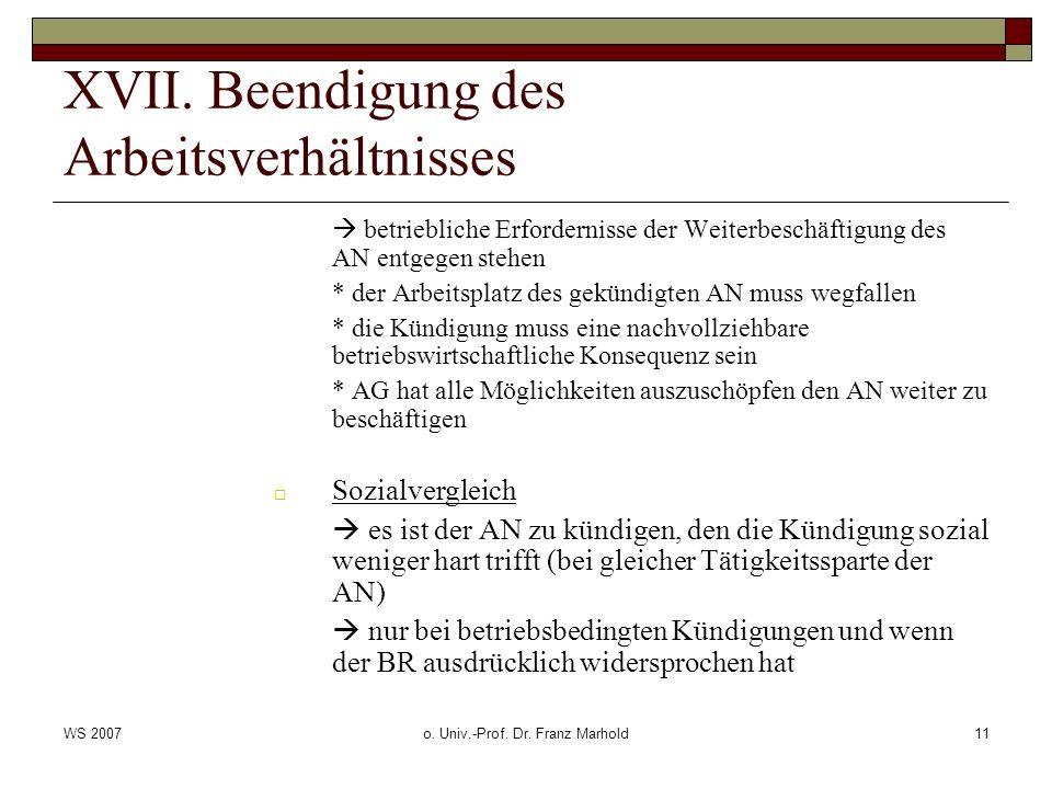 WS 2007o. Univ.-Prof. Dr. Franz Marhold11 XVII. Beendigung des Arbeitsverhältnisses betriebliche Erfordernisse der Weiterbeschäftigung des AN entgegen