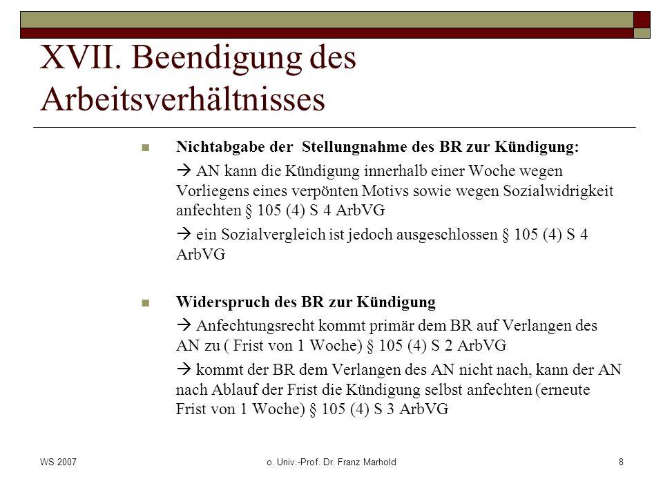 WS 2007o. Univ.-Prof. Dr. Franz Marhold8 XVII. Beendigung des Arbeitsverhältnisses Nichtabgabe der Stellungnahme des BR zur Kündigung: AN kann die Kün