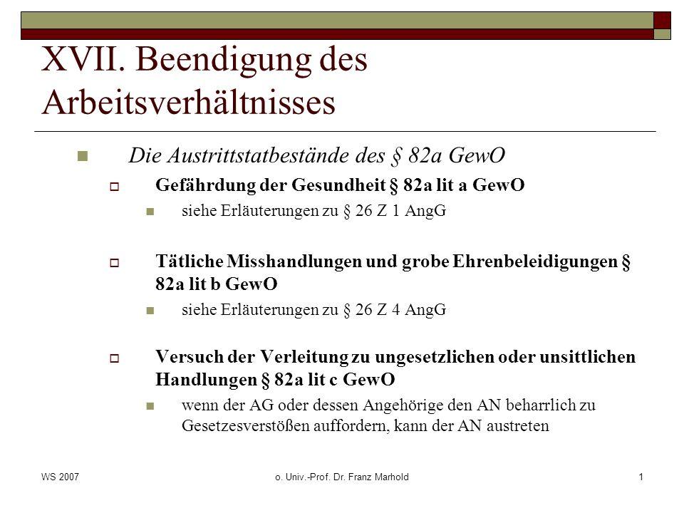 WS 2007o. Univ.-Prof. Dr. Franz Marhold1 XVII.