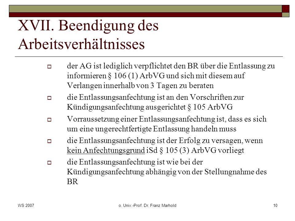 WS 2007o. Univ.-Prof. Dr. Franz Marhold10 XVII.