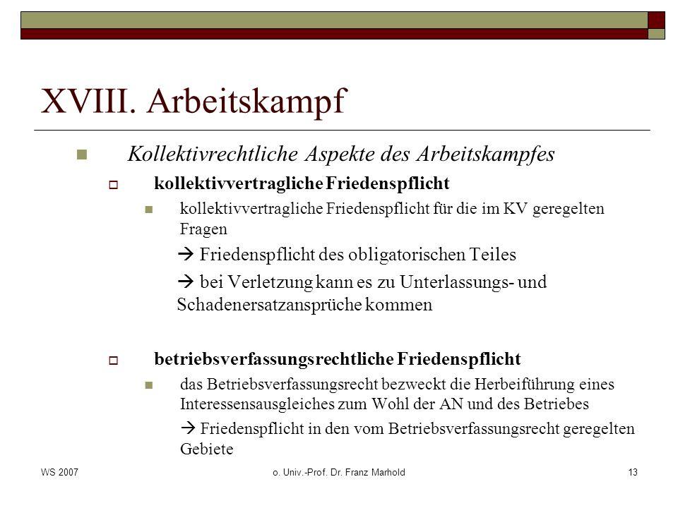 WS 2007o. Univ.-Prof. Dr. Franz Marhold13 XVIII.
