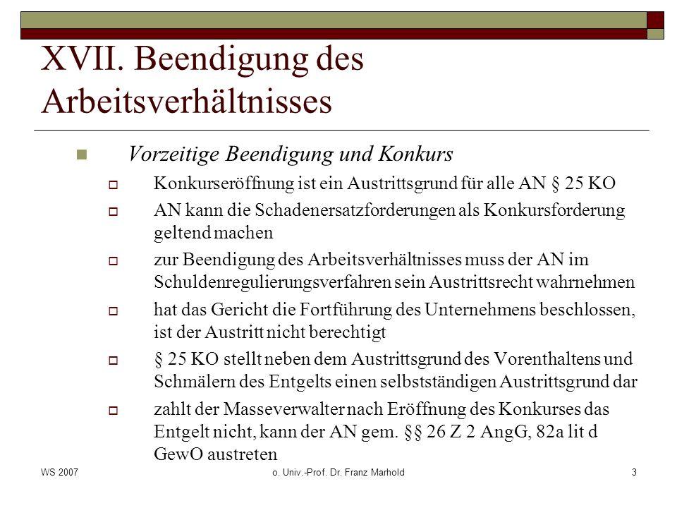 WS 2007o. Univ.-Prof. Dr. Franz Marhold3 XVII.