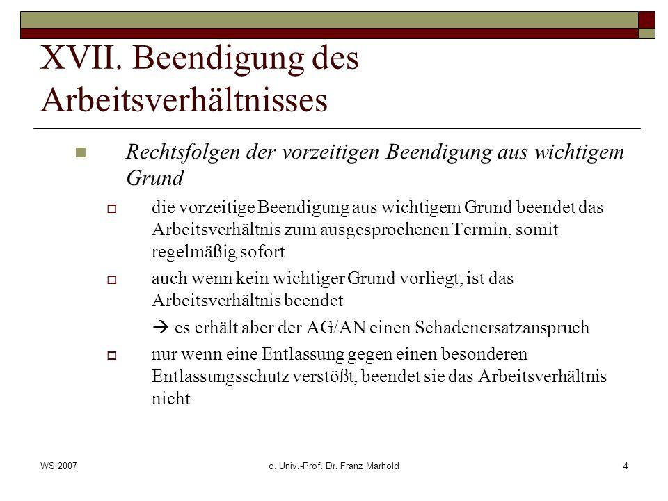 WS 2007o. Univ.-Prof. Dr. Franz Marhold4 XVII.