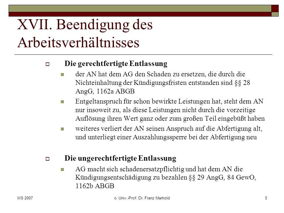 WS 2007o.Univ.-Prof. Dr. Franz Marhold16 XVIII.
