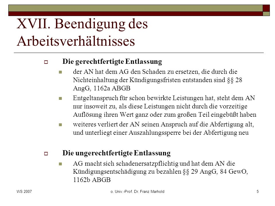 WS 2007o. Univ.-Prof. Dr. Franz Marhold5 XVII.