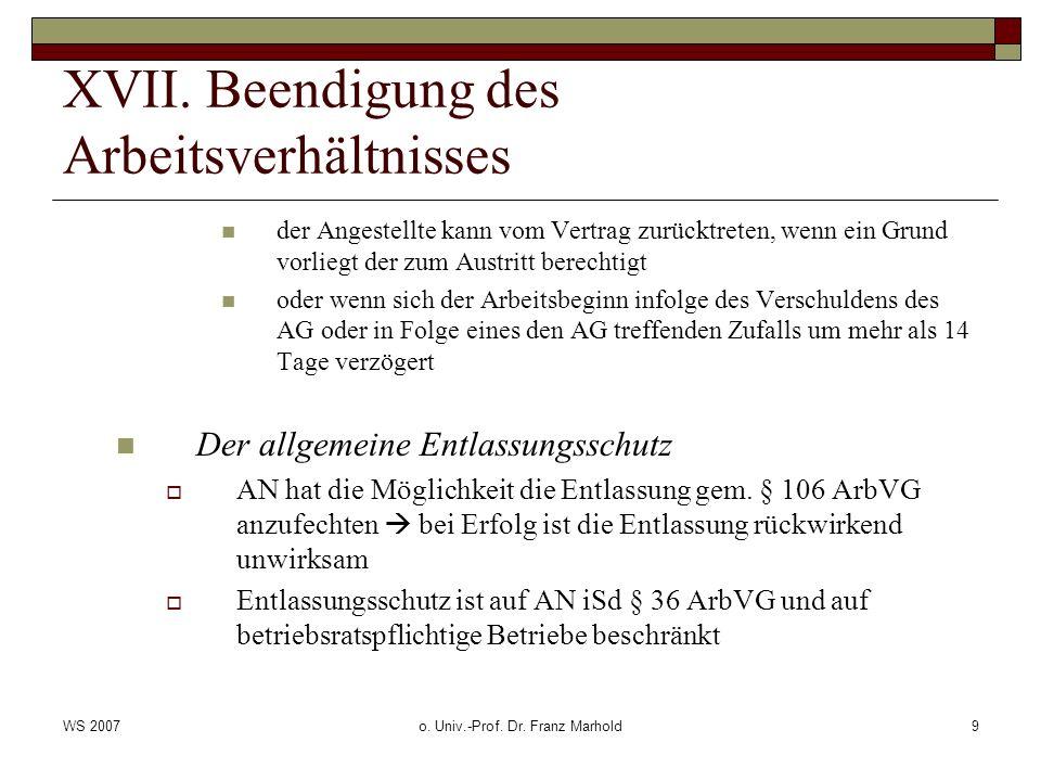 WS 2007o. Univ.-Prof. Dr. Franz Marhold9 XVII.
